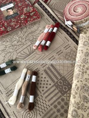 "Pack Piedra Tela Embroidery Panel ""Chafarcani"" de French General + Conjunto de madejas Lana Aubusson"
